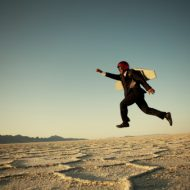 Entretenir sa motivation en recherche d'emploi. Homme fusée